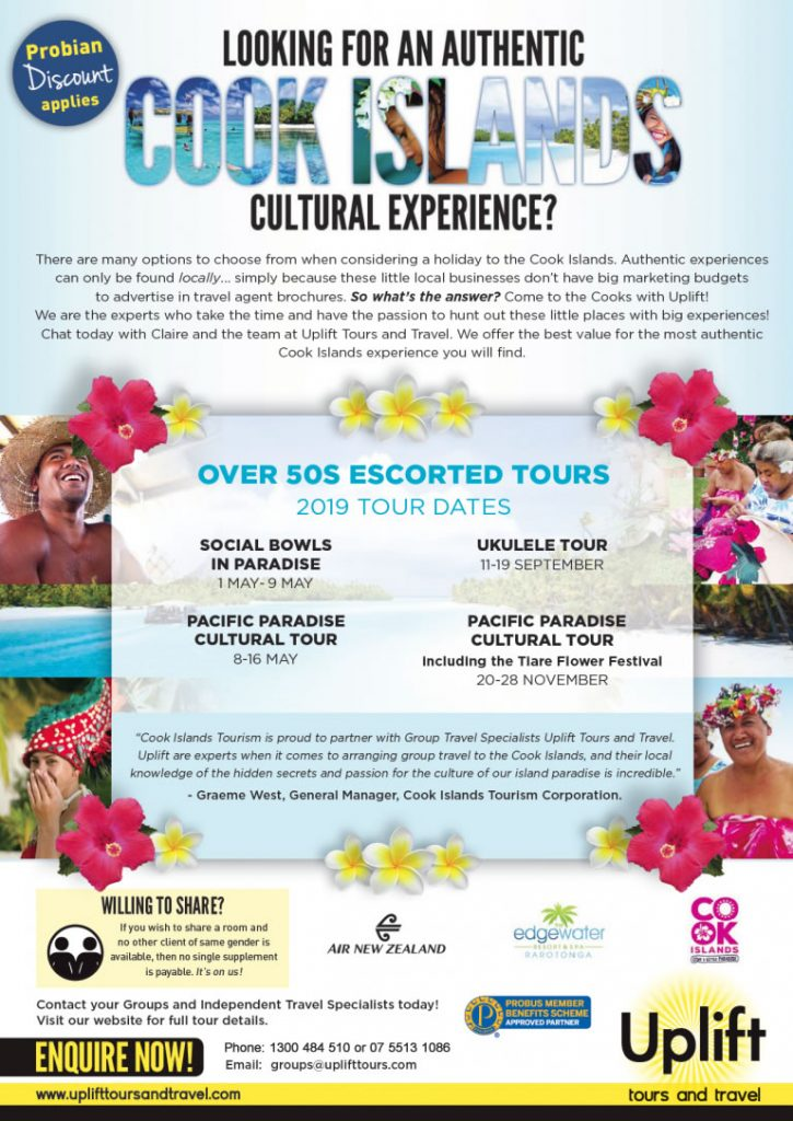 Cook Islands Pacific Paradise Over 50s Tours - Uplift Tours