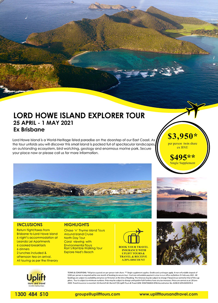Lord Howe Tour Itinerary
